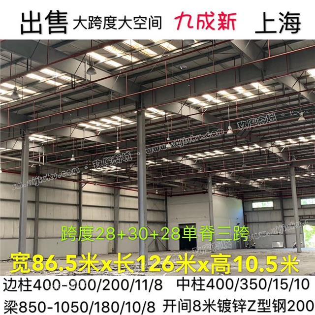 出售寬86.5米x長126米x高10.5米鋼結構大跨度庫房