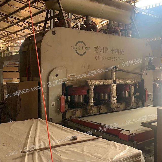 处理二手贴面板热压机1400吨 4*8尺 带出板机