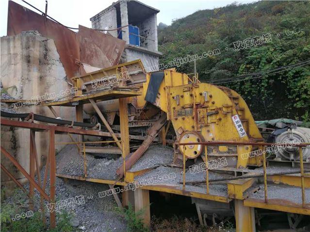 二手日产1500吨砂石料生产线设备二合一破碎机出售